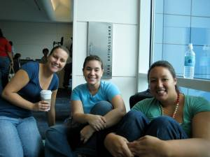 Rachel, me and Hilary waiting to board the plane to Las Vegas