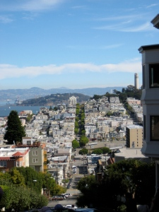 At the top of Lombard Street.  Yeah, at some point we were all the way at the bottom!
